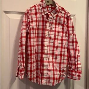 Gap Small red and white button up